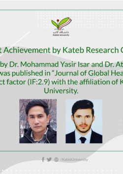 Article by Dr. Mohammad Yasir Isar and Dr. Attaulah Ahmadi was Published.