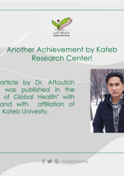 An ISI Article by Dr. Attaullah Ahmadi was Published in another Prestigious Journal.